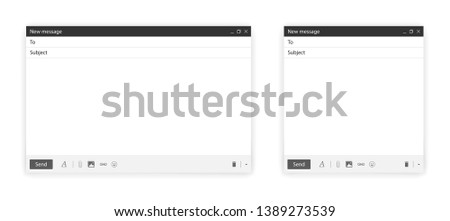 Blank send E-mail template window pack. Internet browser or app mail interface. New design for mail message isolated on white background with shadow. Vector illustration #1389273539
