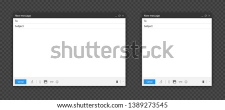 Blank send E-mail template window pack. Internet browser or app mail interface. New design for mail message isolated on transparent background with shadow. Vector illustration #1389273545