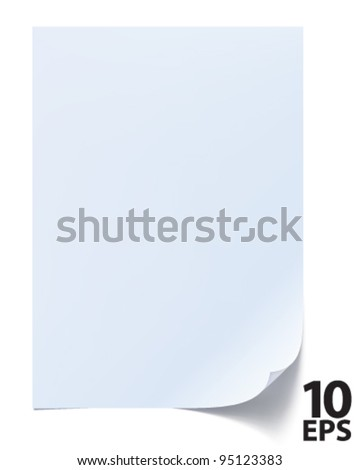 Blank sheet of paper. Paper page with curl. Vector
