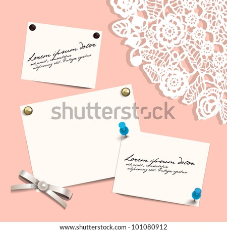 Blank sheets with pushpins on lace background. EPS 10