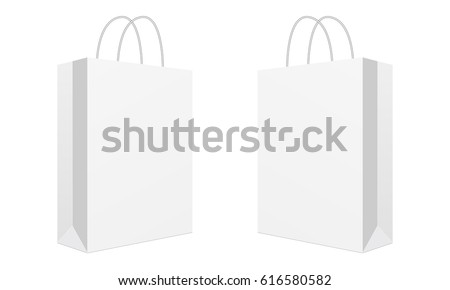 Blank shopping bag isolated on white background. Two cardboard packets. Mockup can be used for design, branding, logo. Vector illustration