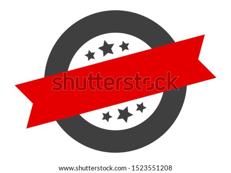 blank sign. blank black-red round ribbon sticker