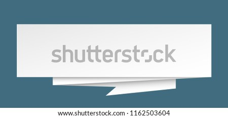 blank sign. blank paper origami speech bubble. blank tag. blank banner