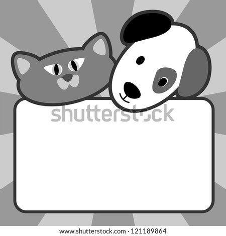 Blank sign with a cartoon dog head and cat head ideal for pet supplies, Vet, animal boarding or greeting card.