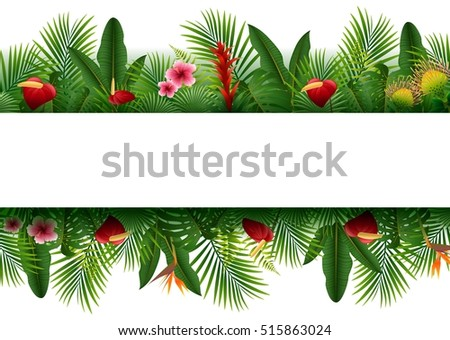 blank sign with tropical forest