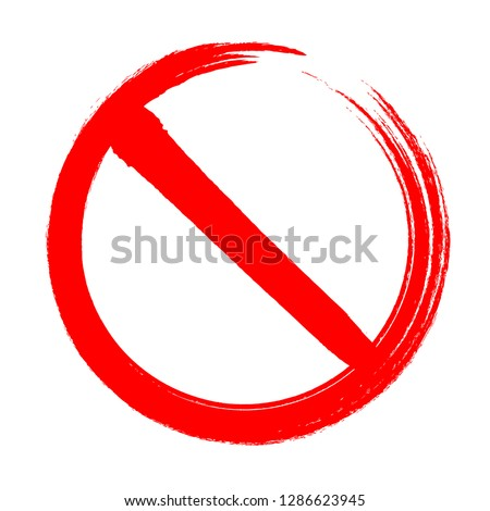 Blank simple ban, prohibition, forbidden, No Sign symbol hand drawn design element isolated on white background. vector illustration. #1286623945
