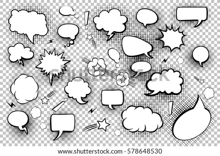 Blank speech bubbles. Set of comic speech bubbles and elements with halftone shadows. Vector illustration