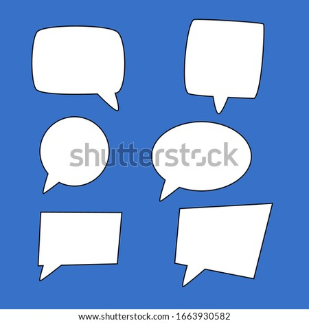 blank speech bubbles set. white cartoon dialogue boxes with different shape isolated on blue background. vector illustration
