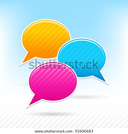 Blank speech bubbles sticker. Yellow, blue and pink colors. Striped shape with shadow on the light background. This vector illustration saved in 10 eps