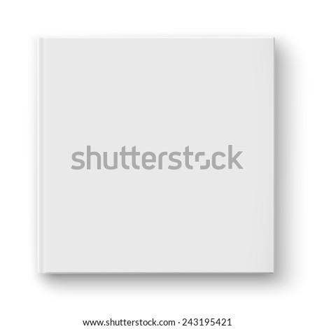 Blank square hardcover album template on white background Vector illustration.