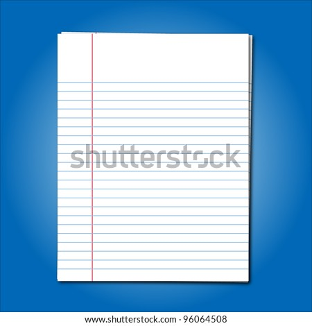 Blank stack white note paper on blue background