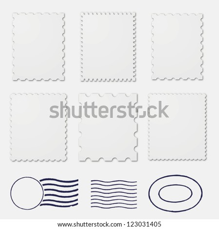 Blank stamps frames - stock vector