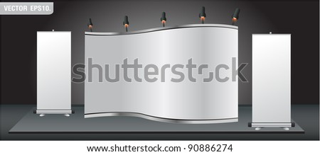 Blank stand for your ad and Roll up banner. Vector template background - stock vector