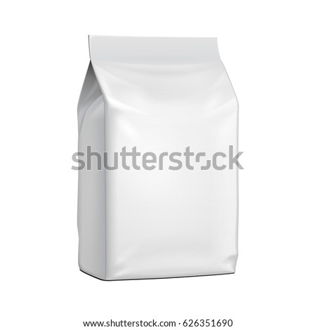 Blank Stand Up Pouch Snack Sachet Bag. Mock Up, Template. Illustration Isolated On White Background. Ready For Your Design. Product Packaging. Vector EPS10
