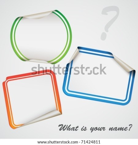 blank stick-on label - stock vector