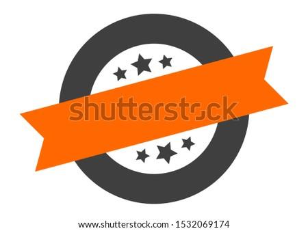 blank sticker. blank orange-black round band sign