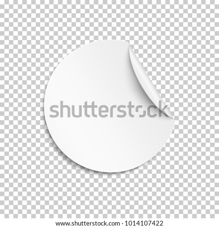 Blank sticker, empty promotional label, white round circle tag with curled corner. Vector template illustration. #1014107422
