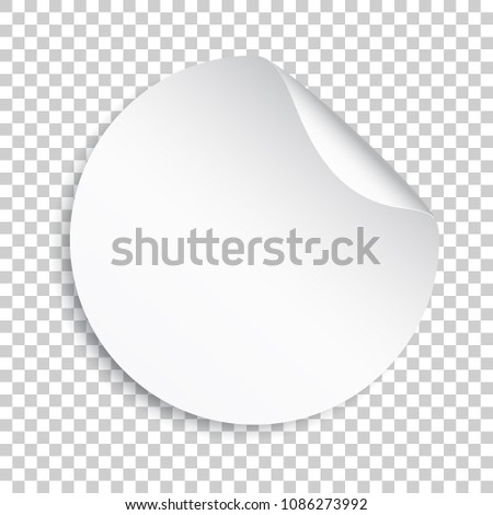 Blank sticker icon. Empty promotional label with peel off corner. Vector illustration on isolated transparent background. Round paper banner sticker. #1086273992