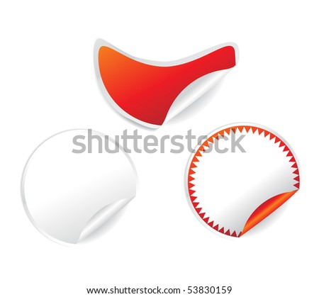 blank stickers set with different colors over white background, vector illustration