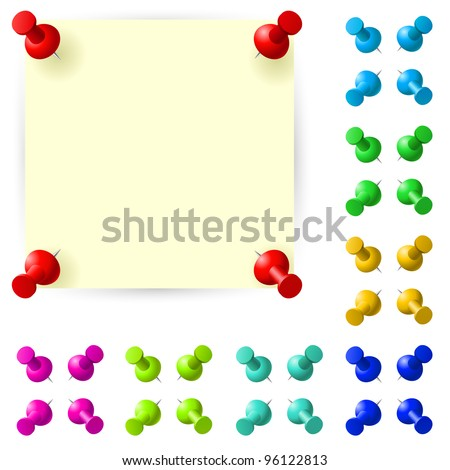 Blank sticky note with red pushpin on white background - stock vector