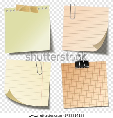 Blank sticky notes with clip binder and adhesive tape on transparent background. Colorful sheets of note papers. Paper reminder. Vector illustration. Stock photo ©