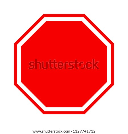 Blank stop sign icon, red isolated on white background, vector illustration. #1129741712