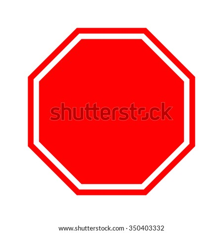 Blank stop sign. Vector Illustration. Isolated vector Illustration. Red on White background. EPS Illustration. #350403332