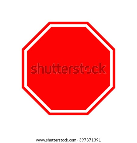 Blank stop traffic warning road sign. Prohibition no symbol. Template Isolated on white background. Flat design Vector illustration #397371391