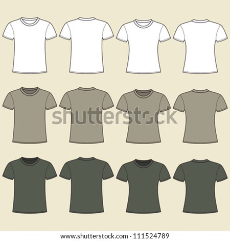 Blank t-shirts template. Front and back