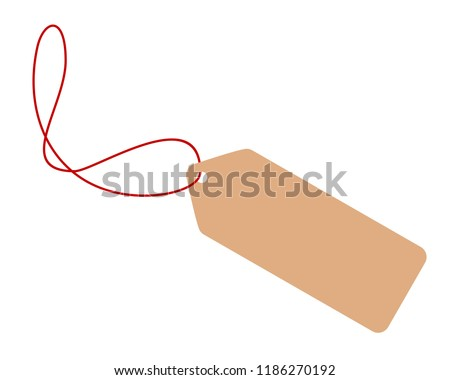 Blank tag from recycling paper isolated on white background. Vector illustration.
