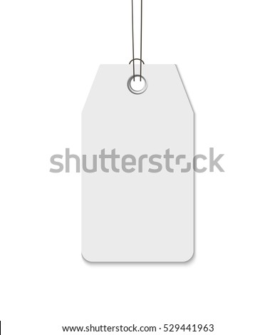 Blank tag with string isolated on white background. Template for price tag, gift tag, address label