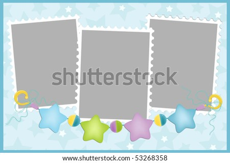 Blank template for greetings card or photo frame in blue colors (EPS10)