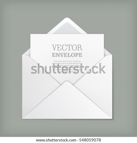 Blank template of open white envelope with empty sheet. Vector realistic mockup for letter or invitation card. Symbol of postal message, post mail, email or business document. Icon isolated.