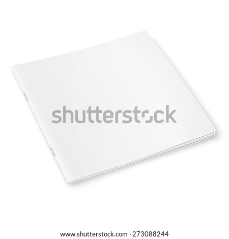 Blank template of square closed magazine on white background with soft shadows. Vector illustration.