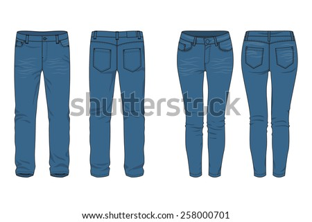 Blank templates of men's and women's jeans in front, back and side views. Isolated on white. Casual style. Vector illustration for your fashion design.