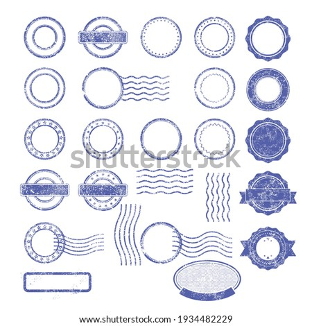Blank templates of shabby postal stamps Photo stock ©