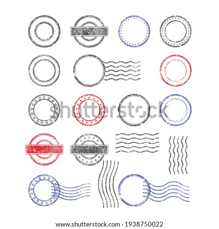Blank templates of shabby postal stamps of round shape, vector Foto stock ©