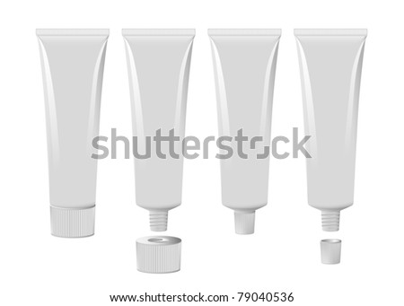 Blank toothpaste tube set eps8