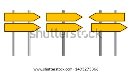 Blank traffic road sign set, direction empty street signs, yellow arrow signposts isolated on white background, vector illustration.