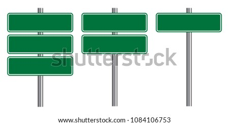 Blank traffic road sign set, empty street signs, green isolated on white background, vector illustration. #1084106753