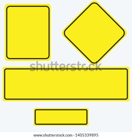 Blank traffic road sign set, empty street signs, yellow isolated on white background, vector illustration. #1405339895