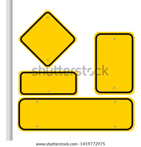 Blank traffic road sign set, empty street signs, yellow isolated on white background, vector illustration. #1459772975