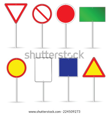 blank traffic sign set two vector illustration