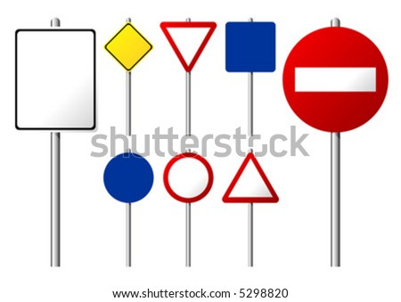 Blank traffic signs isolated over white background