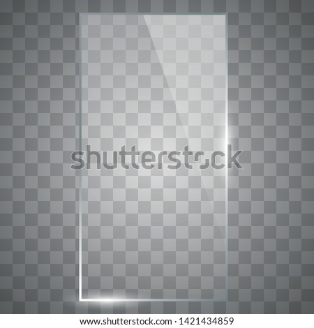 Blank, transparent vector glass plate. Photo realistic texture. Vector square glass frame.