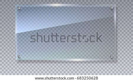 Blank, transparent vector glass plate. Vector template, mock-up banner with copy-space. Photo realistic texture with highlights and glow on the transparent. See through the plastic, 3D illustration. Foto d'archivio ©