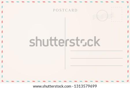 Blank travel card illustration. Postcard border template.
