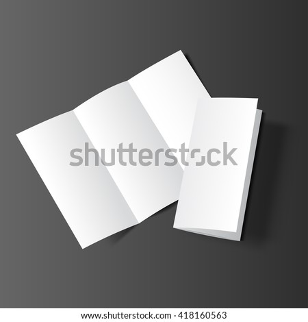 Blank tri fold cover flyer on dark background. 3D illustration with soft shadows. Vector EPS10.
