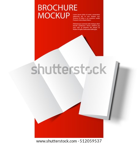 Blank tri fold cover flyer on red and white background. 3D illustration with soft shadows. Vector EPS10 illustration. Red Line series.