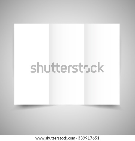 blank tri fold paper brochure design template with soft shadows and highlights isolated on gray